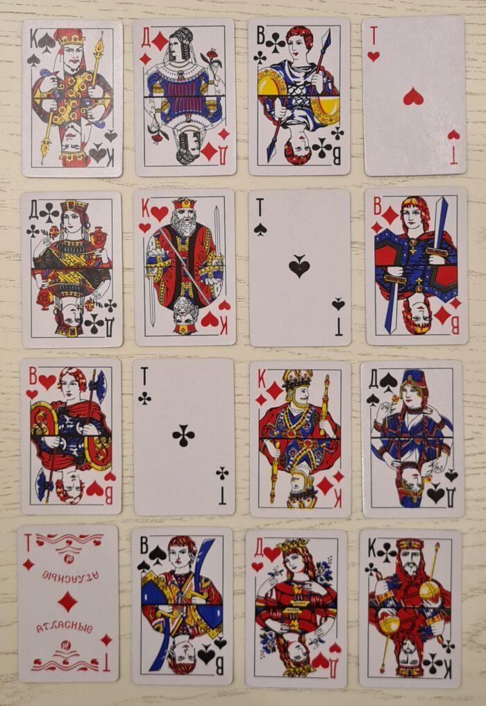 Как положить Тузы и фигуры в 4 ряда так, чтобы ни в одном направлении не было 2-х одинаковых карт как по масти, так и по значению